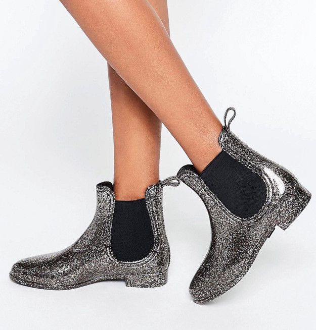 A pair of glittery Wellingtons that you'll probably want to wear even when it's dry as a desert outside.