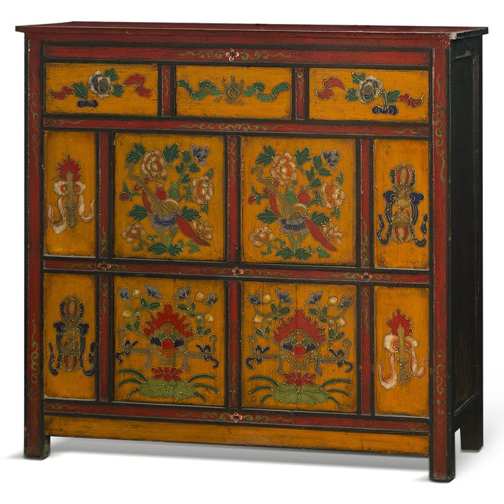 Hand painted tibetan chest tibet pinterest asian for Hand painted oriental furniture