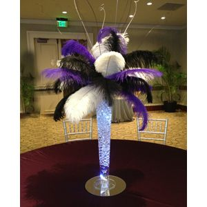"Wholesale Event Solutions - Ostrich Feather Centerpiece with 24"" Trumpet Vase, $209.85 (http://www.eventswholesale.com/ostrich-feather-centerpiece-with-24-trumpet-vase/)"