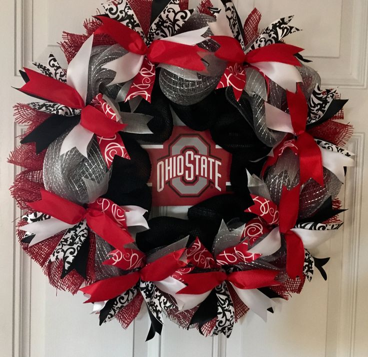 Ohio State Wreath, OSU Wreath, Buckeye Wreath, Red and black Burlap Wreath, Ohio State Football Wreath by CraftElegance on Etsy