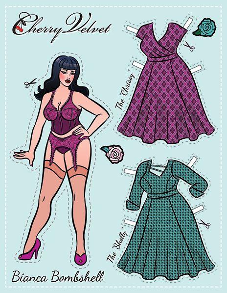 Bianca Bombshell - Cherry Velvet Pin Up Paper Doll - chubby / heavy / overweight / plus-sized