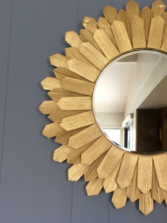 Espejo de pared Sunburst mediados de siglo modernos 24