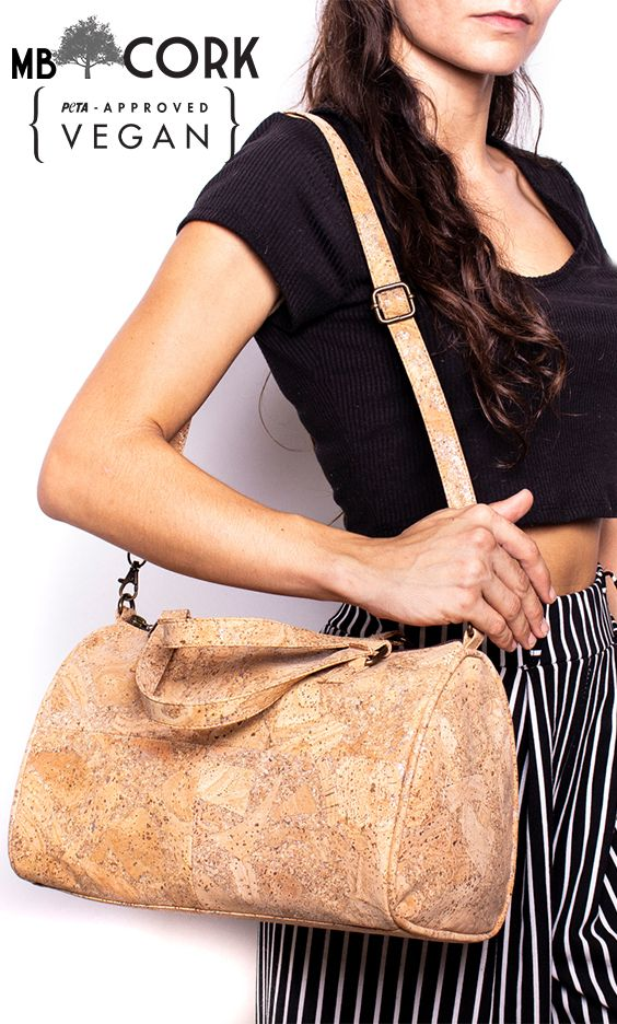Laser Cut Leaf Cork Bag Natural Cork Eco Vegan Crossbody Ladies Messenger Bag