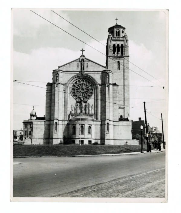 """Gothic Romanesque with a suggestion of Byzantine."""" Exterior front of St. Monica - St. George's Catholic Church, Cincinnati, Ohio. 328 West McMillan St."""