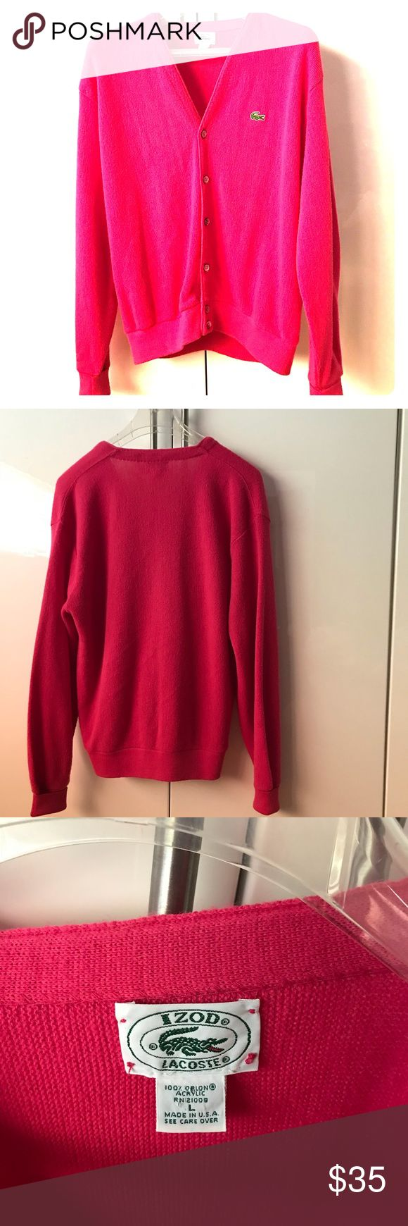 Lacoste got pink cardigan Hot pink to brighten up your winter wardrobe. Reposh. Too big for me. Condition in excellent.  No tears, rips, pulls or stains. Just washed and cleaned and ready to ship. Lacoste Sweaters Cardigans