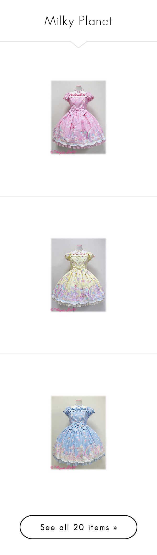 """""""Milky Planet"""" by ghiraham-sandwich ❤ liked on Polyvore featuring dresses, lolita, angelic pretty, milky planet, op, galaxy print dress, cosmic dress, planet dresses, galaxy dresses and space print dress"""