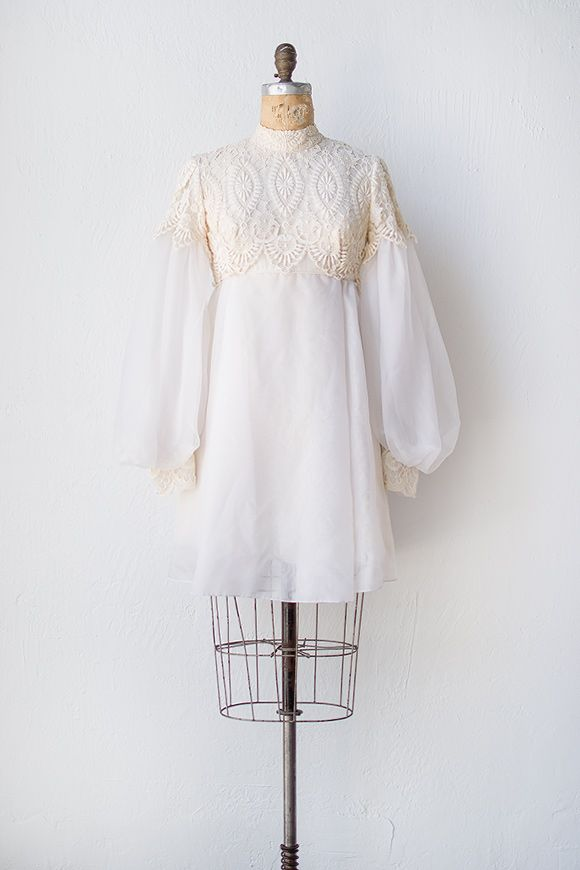 vintage 1960s Emma Domb wedding dress sheer ivory lace bohemian chic grace