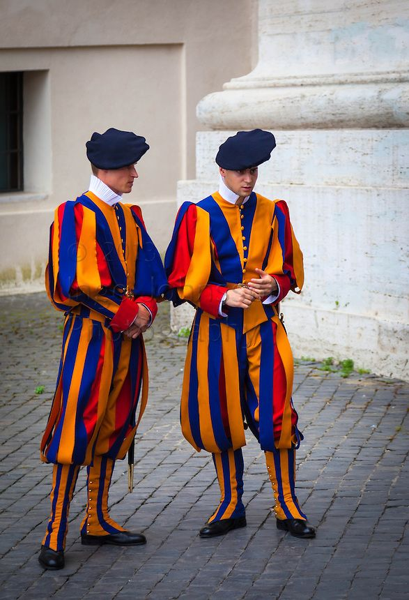 Swiss Guards at Saint Peter's Cathedral in Rome, Italy.