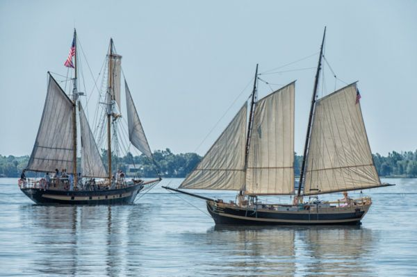 Two battleships on civil war of 1812 re-enactment - Stock photo