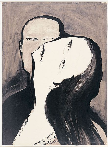 Joy Hester, Lovers (II) 1956, brush and ink, watercolour, 75.3 cm x 55.5 cm