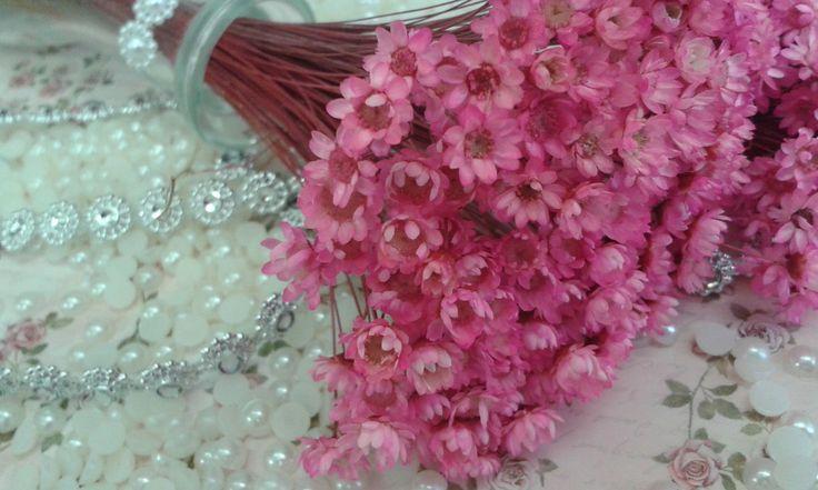 Flor Sempre Viva Rosa <br>Flor seca <br>Buquet com aproximadamente 35 florzinhas; tamanho da florzinha: aproximadamente 1 cm; tamanho do caule: 15 cm aproximadamente <br>Para o toque perfeito ao seu artesanato, podendo ser utilizado em lembrancinhas, convites, decoração de festas, acabamentos, patchwork, scrapbook, etc. <br>Pode haver variação de tons de um buque para outro devido ao tingimento e secagem.