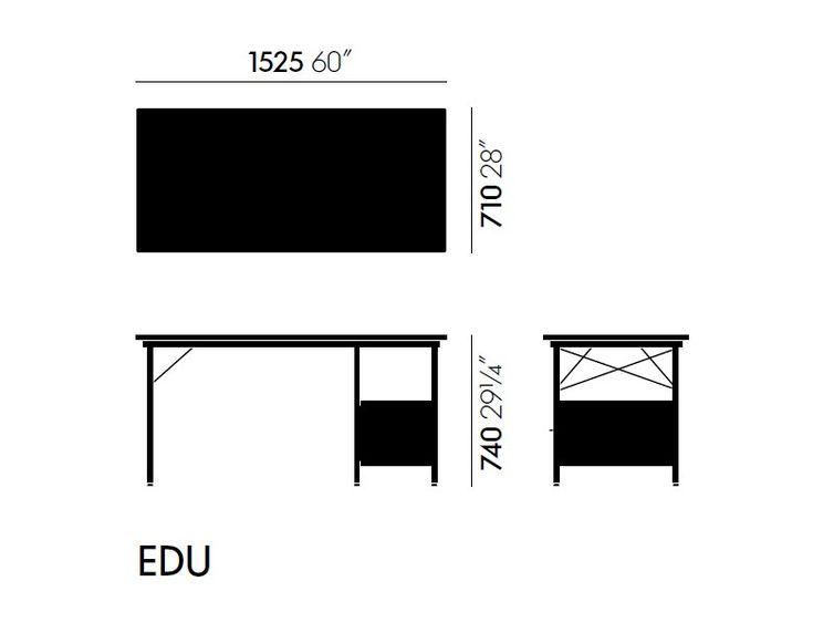 Rectangular writing desk with bookcase EAMES DESK UNIT EDU by Vitra design Charles