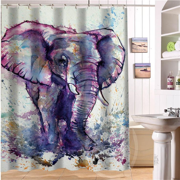 Elegant And Cute Elephant Personalized Custom Shower Curtain Bath Curtainu2026