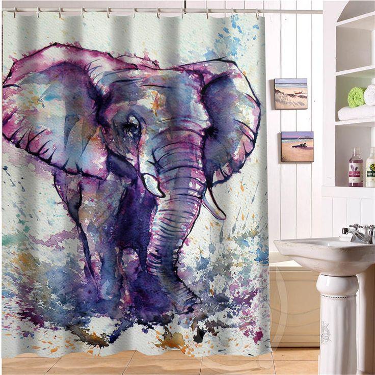 elegant and cute elephant custom shower curtain bath
