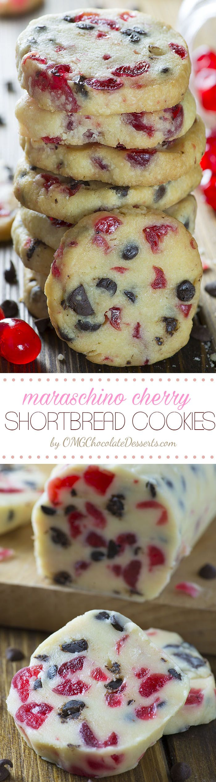 Make the classic shortbread cookies red with bits of Maraschino Cherry and you will get beautiful Christmas Cookies – Maraschino Cherry Shortbread Cookies.