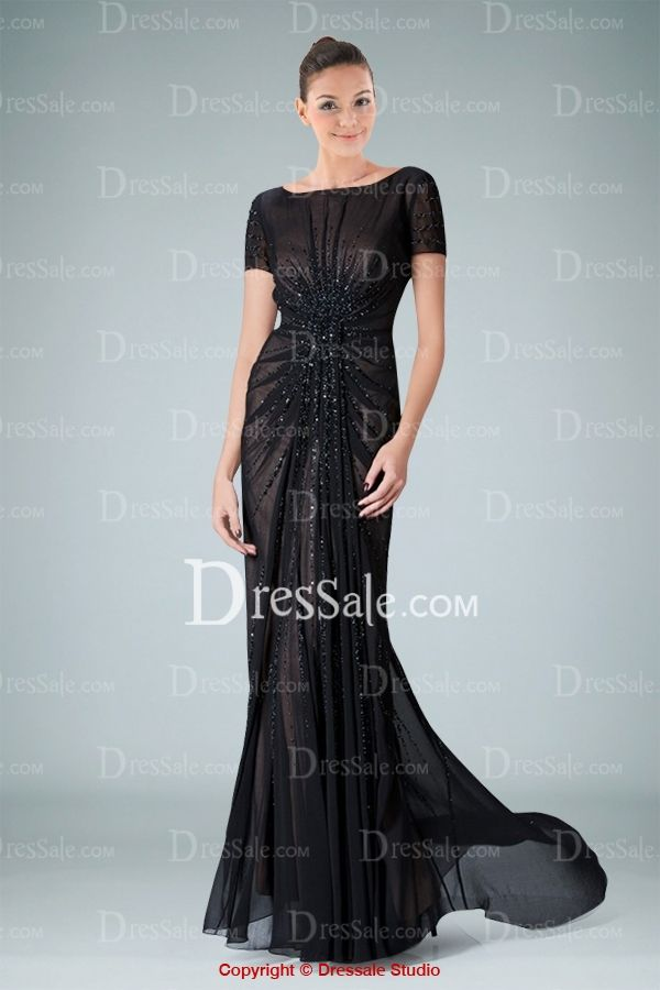 Glamorous Sheath Evening Gown Highlighted with Delicate Pleats and Beaded Motifs