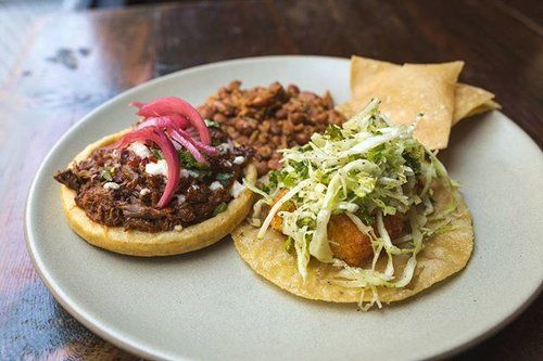 Lamb Birria Sope & Crispy Potato Taco served with rice and beans. Available for lunch. #BarAma