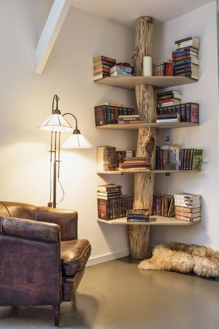 natural-polished-floor-to-ceiling-log-wood-based-bookcase-with-cream-hardboard-shelves-as-well-as-contemporary-bookshelf-design-plus-cool-bookcase | MyoHomes