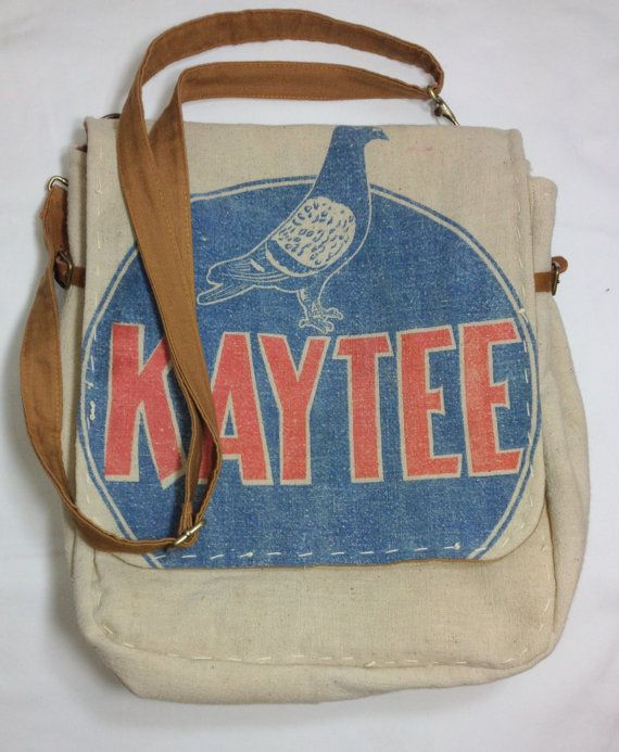 Kaytee Pigeon Feed Sack Messenger Bag by tamijordan on Etsy.