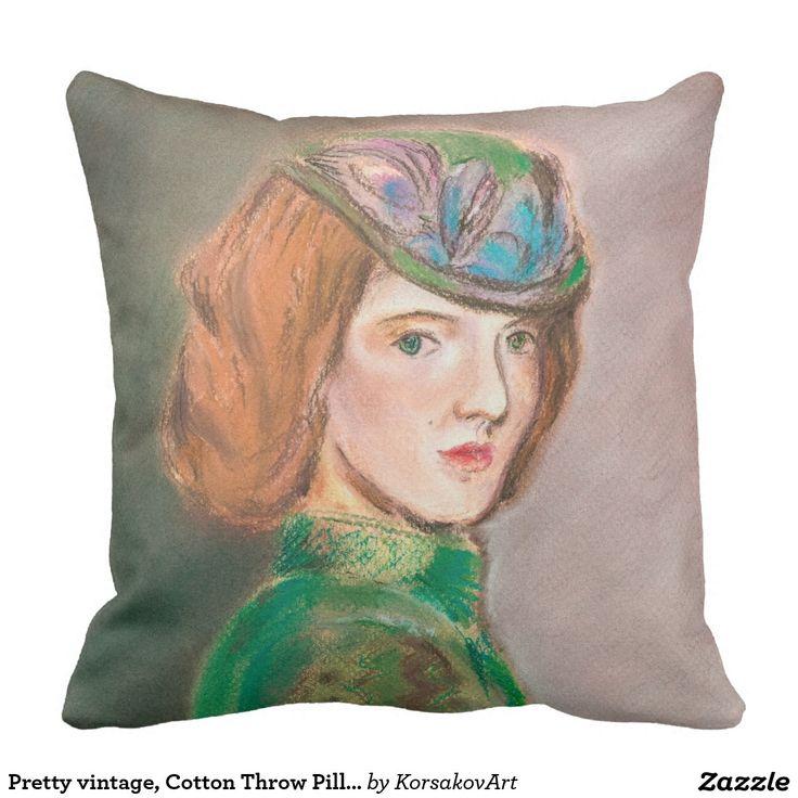 Pretty vintage, Cotton Throw Pillow 20x20 #vintage #woman #pillows #interior #design #home #painting #decor