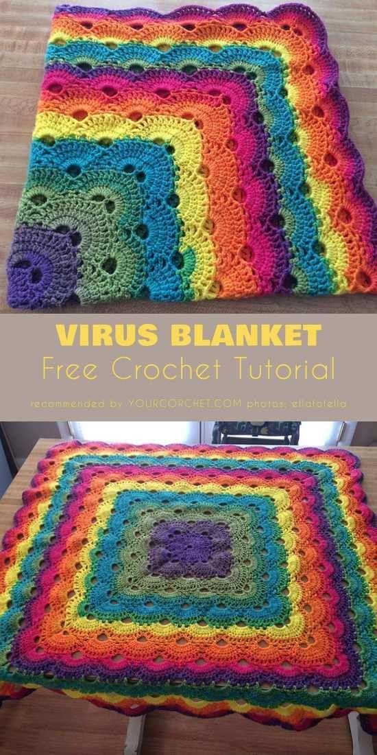 Padrão De Crochet Vírus Cobertor e Tutorial Livre Crochet