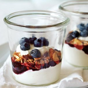 Yogurt parfaits with berry jam and granola