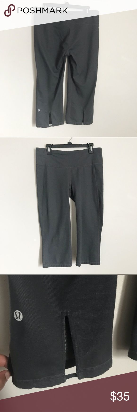 LULULEMON  Heathered Gray Slit Back Yoga Capris Good Condition  Sort of like the  LULULEMON Gather And Crow Heathered Gray Slit Back Yoga Capri Pants Size 12  3rd photo shows  actual colour better. lululemon athletica Pants Capris