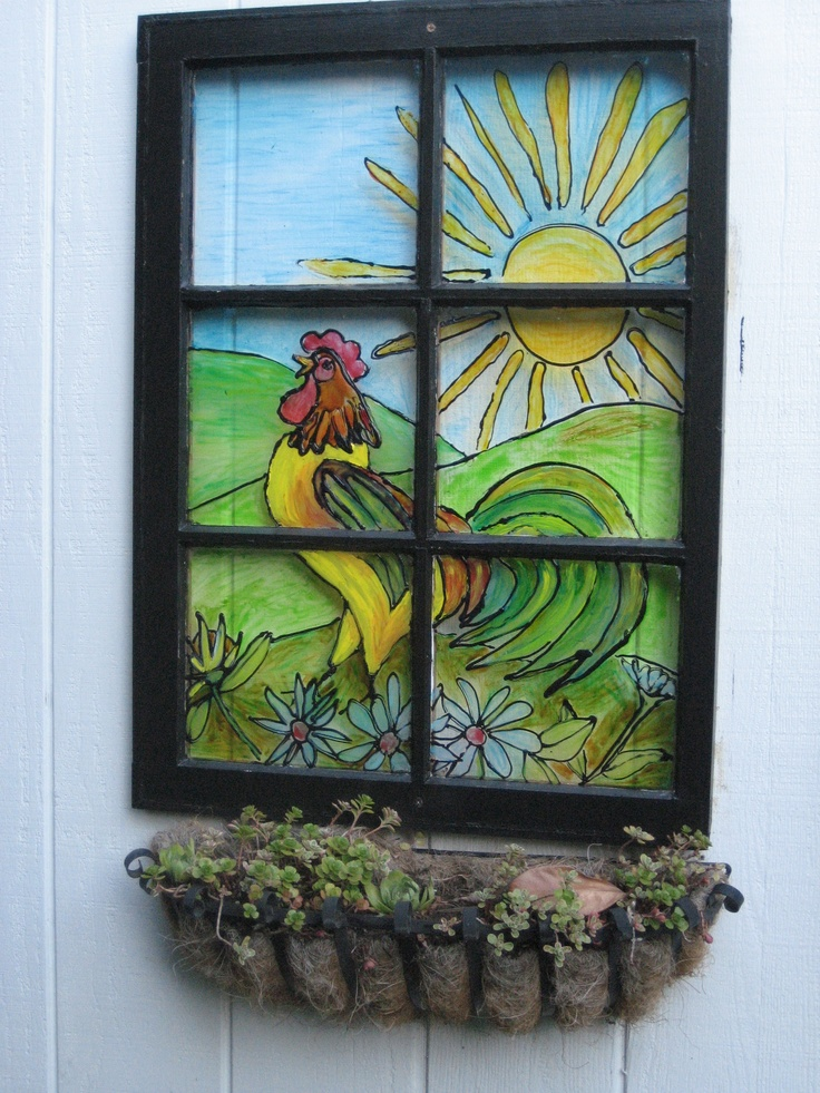 25 Best Ideas About Old Windows Painted On Pinterest Painted Window Panes Window Pane Art