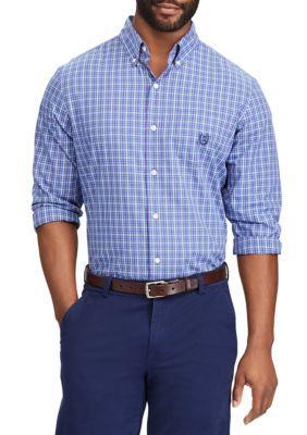Chaps Men's Plaid Cotton-Blend Shirt - Poseidon Purple - 2Xl
