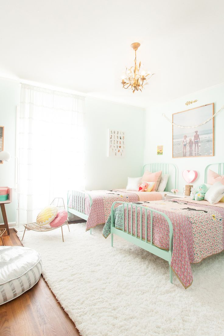 Girls room with twin beds in muted pink and mint tones with Land of Nod. Best 25  Room for two kids ideas on Pinterest   Two girls bedrooms
