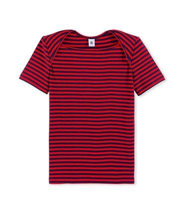 USスリーブボーダー半袖Tシャツ(S(16ans) ダークネイビー/レッド): レディース [PETIT BATEAU プチバトーオンラインブティック]