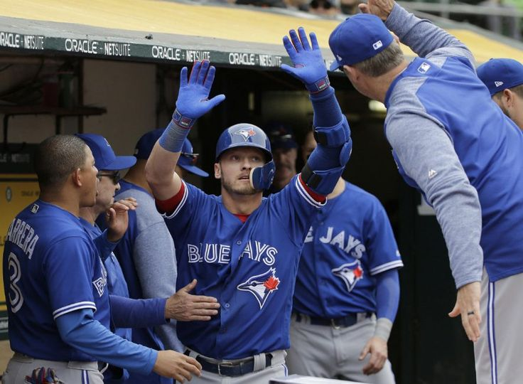 Josh Donaldson the hero as Jays avoid sweep in Oakland. Wednesday's series finale was in extra innings when Toronto's third baseman inflicted his biggest damage of the week, a two-run homer in the top of the 10th. Here he's greeted by his teammates after slamming a two-run shot in the top of the 10th in Oakland on Wednesday. June 7, 2017