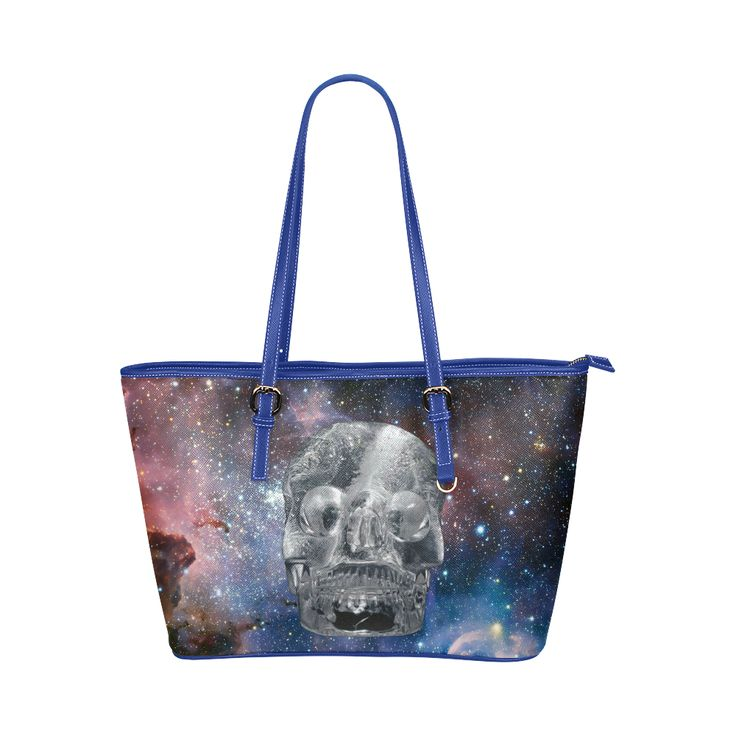 Crystall Skull Leather Tote Bag/Large. FREE Shipping. #artsadd #bags #skull