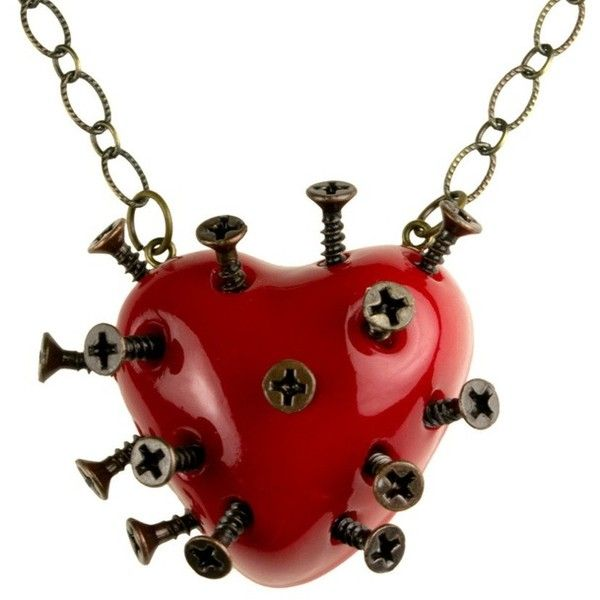 Red Steampunk Broken Heart Necklace With Screws (goth, jewellery,... ❤ liked on Polyvore