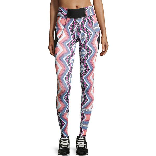 Charlie Jade Tribal-Print Leggings ($45) ❤ liked on Polyvore featuring pants, leggings, white pull on pants, charlie jade, tribal print pants, tribal pattern leggings and tribal pull on pants