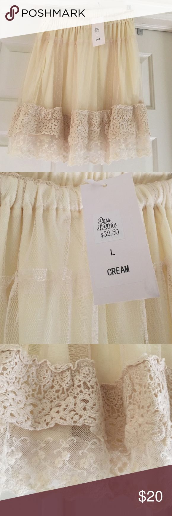 Lace Skirt Cream lace skirt, never worn. can be worn as a slip, skirt extender or on its own. Skirts Midi