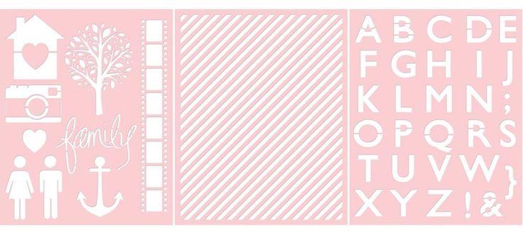 Basically Essential Stencils – Family, Diagonal Stripe, Alphabet ...