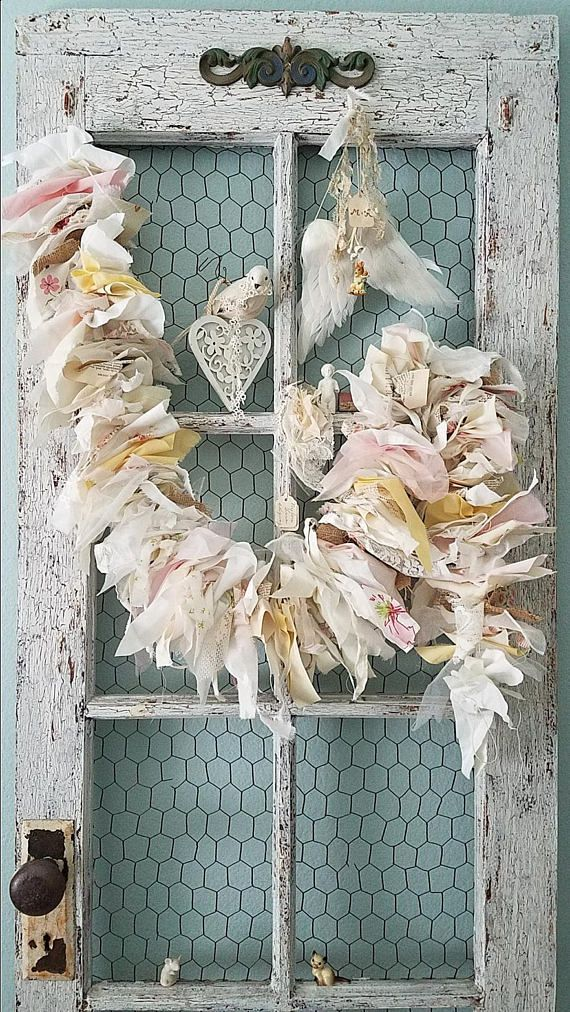 Garland Burlap and Lace Banner Shabby Chic Garland Fabric