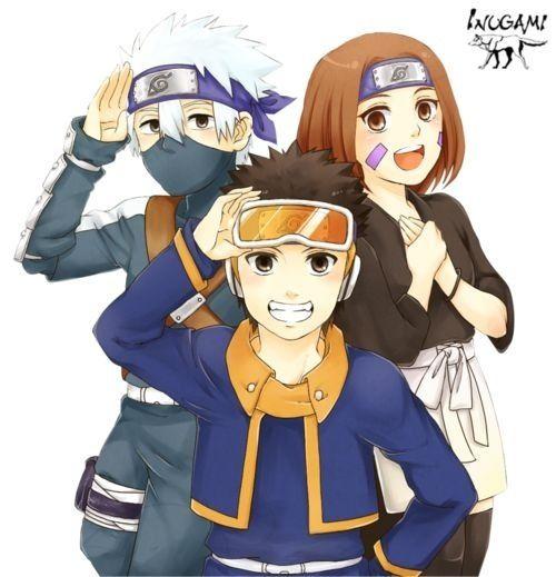 Team Minato: Kakashi, Obito, Rin. #naruto
