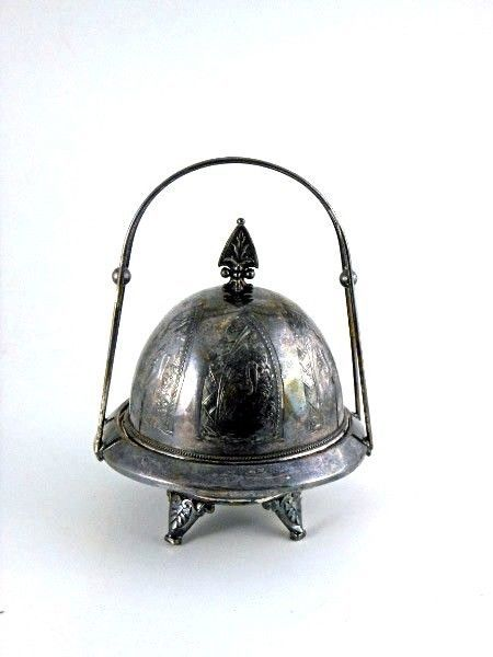 Victorian Butter Dish, Triple Silver Plate, 3 Parts, Cranes Decorative Motif on  #Unknown #Unknown