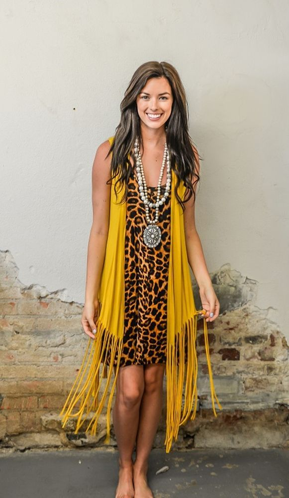 Details About Cowgirl Gypsy Mustard Fringe Duster Vest