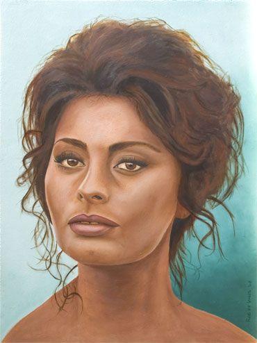 Sophia Loren Oil on Panel, ca. 30 x 40 cm. www.realistischekunst.com