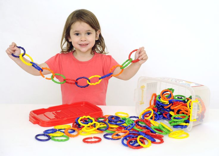 EA-531 My First Links These pliable links make it easy to join and separate pieces to make a chain.  This set of 150 pieces comes in 6 different colours (orange, blue, purple, yellow, green, red). The pieces are chunky and easy to grip so they are great for younger children. The different textures, colours and shapes on the surfaces of these links provide a sensory experience whilst slightly older children can use the links for sequencing activities.  Pieces are made from strong and durable…