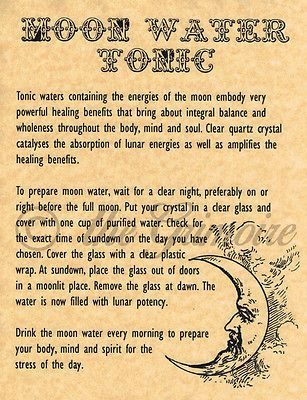 Moon Water Tonic, Book of Shadows Pages, BOS Pages, Real Witchcraft Recipe Wicca