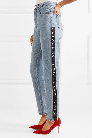 Solace London - Printed Grosgrain-trimmed High-rise Straight-leg Jeans - Mid denim