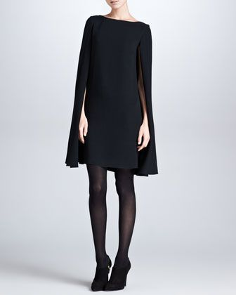 Ashland Drop-Shoulder Cape-Sleeve Dress, Black by Ralph Lauren Black Label at Neiman Marcus.: