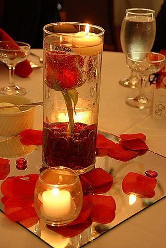White and Gold Wedding. Centerpiece Idea: 1 rose stem,water,decorative stones/arcylic stones,floating candle,volatile candles,mirror(any shape you desire),cylindrical clear vase