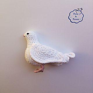 Paloma blanca - Puntos de fantasia #pattern #amigurumi #dove