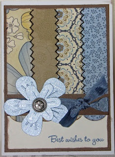 """Close to my heart  Pemberley    I was inspired to make this card from a card I saw on Pinterest. I sewed together the four strips of """"Pemberley"""" paper. I added two flowers I inked to match the paper and added a brad in center.I also inked the color ready ribbon."""