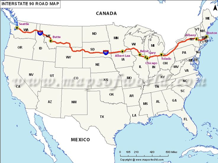 Interstate 90 map   US Interstate 90 Map - Albert Lea to Seattle ,next road trip